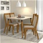 Conjunto de Mesa Rovere/creme Ballet com 4 Cadeiras Merengue - Lopas