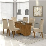 Conjunto de Mesa Rovere/creme Rock 1,80m Vidro Incolor com 6 Cadeiras Apogeu - Lopas