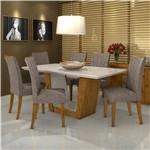 Conjunto de Mesa Rovere/offwhite/castor Vidro Offwhite com 6 Cadeiras Apogeu - Lopas