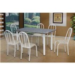 Conjunto de Mesa Sara com 6 Cadeiras Branca Rattan