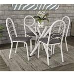 Conjunto Sala de Jantar Mesa Volga 4 Cadeiras Holanda Crome Kappesberg Branco/Linho Cinza