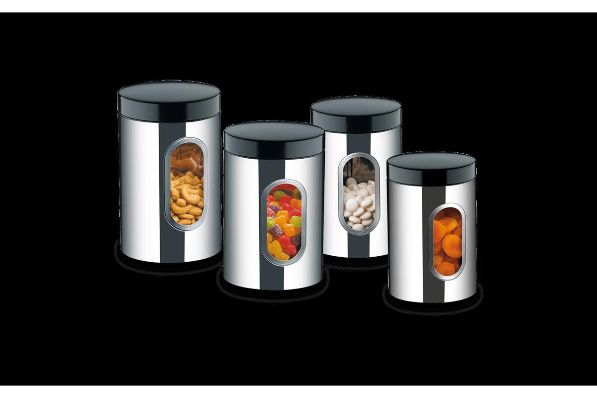 Conjunto de Potes de Inox com Visor 4 Peças - Suprema