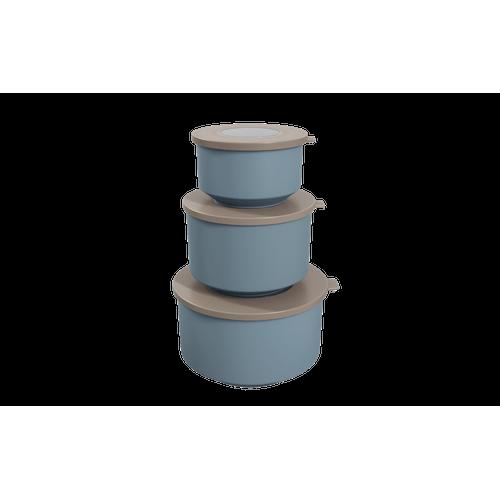 Conjunto de 3 Potes Hoop 8,3x19,6x11cm Azul Fog e Warm Gray Coza