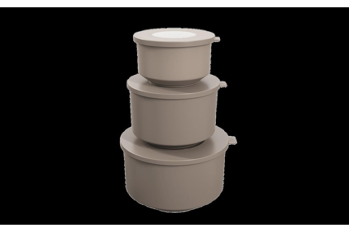 Conjunto de 3 Potes Hoop 8,3x19,6x11cm Warm Gray Coza