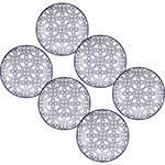 Conjunto de Pratos Oxford Daily Floreal Nautico 6 Peças Fundos 23cm - Branco/Azul