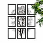Conjunto de Quadros Decorativos Árvore Abstrata Kit com 9 Quadros 43x33cm