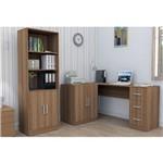 Conjunto Escritório Office Plus Appunto 2 Peças: Armário com Portas e Prateleiras e Mesa em L com Ba