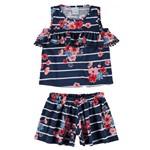 Conjunto Feminino Infantil Azul Marinho Listras Malwee