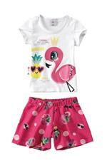 Conjunto Flamingos Estampa Digital Menina Zig Zig Zaa Branco - 2