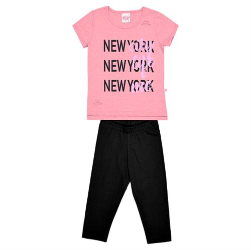 Conjunto Infantil Abrange New York Rosa e Preto 12