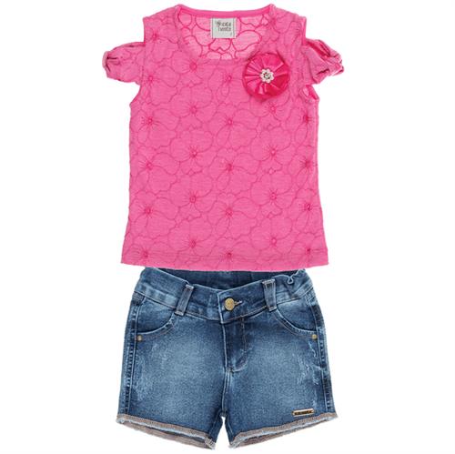 Conjunto Infantil Cata-Vento Lasie Rosa e Jeans 04