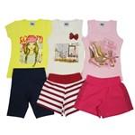 Conjunto Infantil Feminino Verão Kit com 3 Unidades Amarelo, Creme e Rosa-4