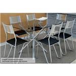 Conjunto Jantar Kappesberg- Base Volga C/Tampo Vidro 140cm+6 Cadeiras Nápoles- Cromada- Preto