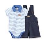 Conjunto Jardineira Curta Cotton Jeans e Body Gola Polo Pingo Lelê Chevron Azul
