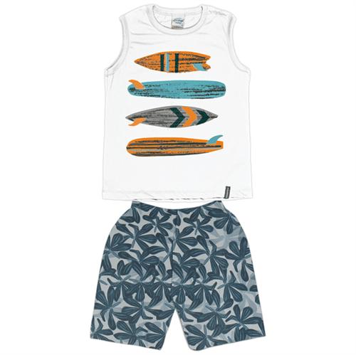 Conjunto Juvenil Abrange Surf Branco e Verde 12