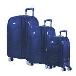 Conjunto Kit 3 Malas de Viagem Abs Expansivas Yin's Azul