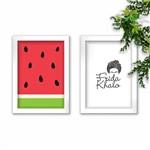 Conjunto Kit 2 Quadros Decorativos Melancia Frida Khalo Moldura Branca Tam A4