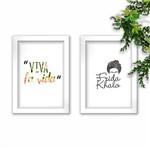 Conjunto Kit 2 Quadros Decorativos Viva La Vida Frida Khalo Moldura Branca Tam A4