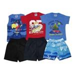 Conjunto Masculino Bebê Kit com 3 Unidades Azul Jeans, Vermelho e Azul-1