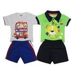 Conjunto Masculino Bebê Kit com 2 Unidades Cinza Mescla e Verde-M