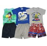 Conjunto Masculino Bebê Kit com 3 Unidades Verde, Azul Royal e Cinza-1