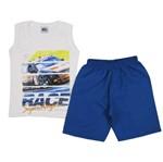 Conjunto Masculino Infantil Regata Branca e Bermuda Azul Royal-4