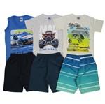 Conjunto Masculino Infantil Verão Kit com 3 Unidades Azul Claro, Cinza e Creme-4