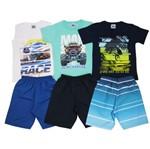 Conjunto Masculino Infantil Verão Kit com 3 Unidades Branco, Verde e Azul Marinho-4