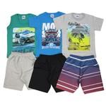 Conjunto Masculino Infantil Verão Kit com 3 Unidades Verde, Azul Turquesa e Cinza-4