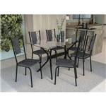 Conjunto Mesa 1,40 com 6 Cadeiras Lisboa Kappesberg - Preto/cinza