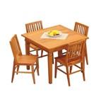 Conjunto Mesa de Jantar 1Mx1M Madeira Maciça de Demolição com 4 Cadeiras Conforto