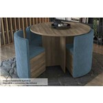 Conjunto Mesa de Jantar Kappesberg - Mesa Madeirado Nogal Nirá 108cm + 4 Cadeiras CAD108 Azul - Cor Nogal - Assento/Encosto Azul D007
