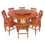 Conjunto Mesa de Jantar Redonda Madeira Demolição 1,60m + 8 Cadeiras Conforto