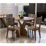 Conjunto Mesa de Jantar Redonda Tm11 com 4 Cadeiras Ca22 105X105cm - Nobre/Ladrinho