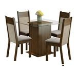 Conjunto Mesa de Vidro com 4 Cadeiras Miami Marrom Madesa