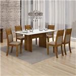 Conjunto Mesa Florença 6 Cadeiras Havai C/vidro Branco Leifer Canela/linho Bege