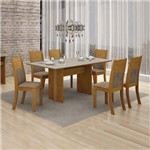 Conjunto Mesa Florença 6 Cadeiras Havai C/vidro Off White - Imbuia Mel/animale Capuccino