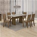 Conjunto Mesa Florença 6 Cadeiras Havai C/vidro Off White-ypê/animale Capuccino