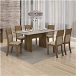 Conjunto Mesa Florença 6 Cadeiras Havai C/vidro Offwhite Leifer Ypê/linho Bege
