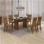 Conjunto Mesa Florença 6 Cadeiras Havai C/vidro Preto-canela/animale Capuccino