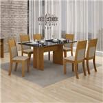 Conjunto Mesa Florença 6 Cadeiras Havai C/vidro Preto-imbuia Mel/linho Bege