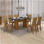 Conjunto Mesa Florença 6 Cadeiras Havai C/vidro Preto - Imbuiamel/animale Capuccino
