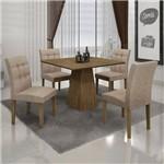 Conjunto Mesa Itália 0,90x0,90m com 4 Cadeiras Linho Bege Ypê - Leifer