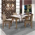 Conjunto Mesa Lavinia 4 Cadeiras Olimpia C/vidro Branco Imbuia Mel/off/animale Capuccino
