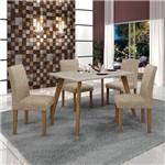 Conjunto Mesa Lavinia 4 Cadeiras Olimpia C/vidro Off White-imbuia Mel/off/linho Bege