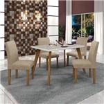 Conjunto Mesa Lavinia 4 Cadeiras Olimpia C/vidro Off White Leifer Imbuia Mel/branco/linho Bege