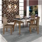 Conjunto Mesa Lavinia 4 Cadeiras Olimpia C/vidro Preto Imbuia Mel/off/animale Capuccino