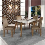 Conjunto Mesa Lavinia 4 Cadeiras Pampulha C/vidro Offwhite-branco/imbuia Mel/animale Capuccino