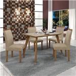 Conjunto Mesa Lavinia 4 Cadeiras Pampulha C/vidro Offwhite-imbuia Mel/linho Bege