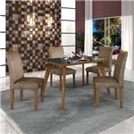 Conjunto Mesa Lavinia 4 Cadeiras Pampulha C/vidro Preto-imbuia Mel/animale Capuccino